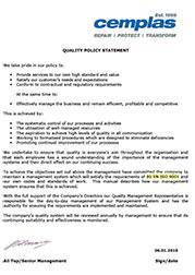 Cemplas Quality Policy 2018-1019