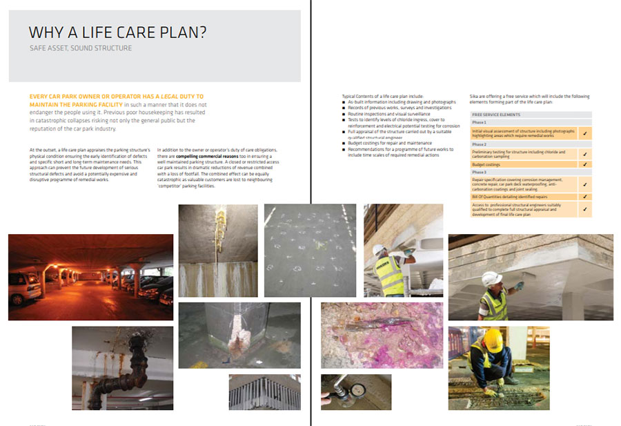 Cemplas - Services - Car Park Refurbishment - Lifecare Plans - Sika LCP Brochure - Inner Pages